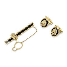 Yellow Gold Enamel and Diamond Tie Slide and Cufflinks Set